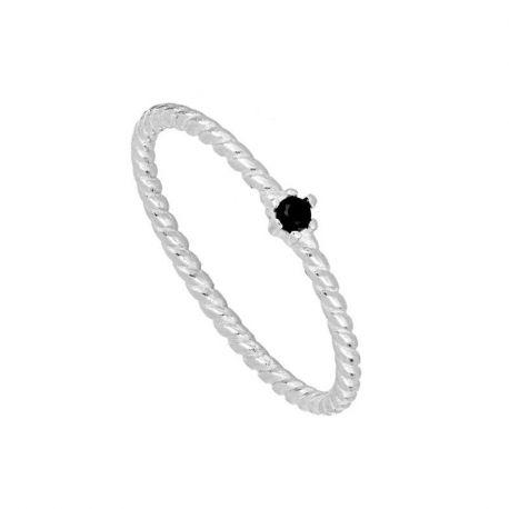 anillo de plata circonita negra