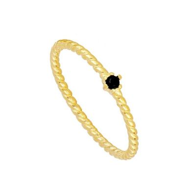 anillo dorado de circonita negra