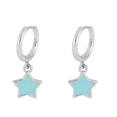 aros turquesa de estrella plata