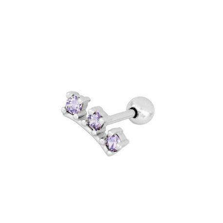 piercing de oreja lilas