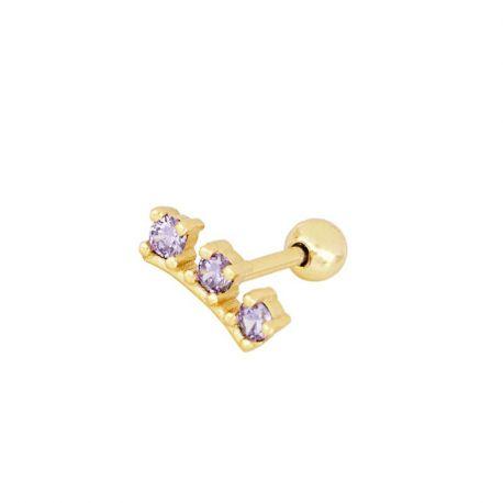 piercing de oro lila