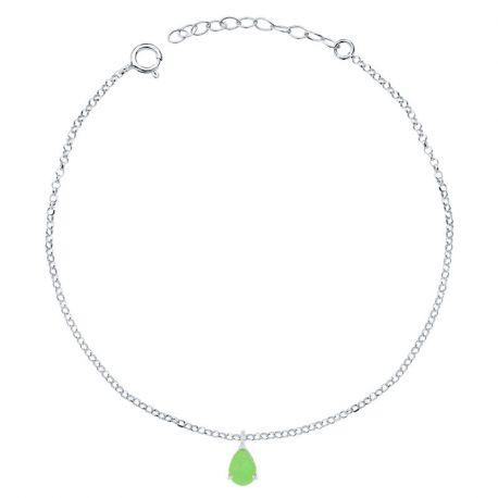 tobillera de plata piedra verde