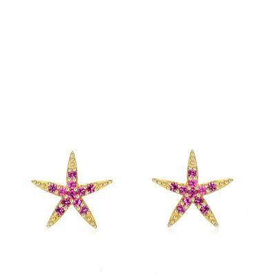 pendientes estrella de mar rojas plata