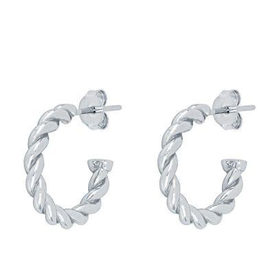 pendientes aros de plata abiertos retorcidos