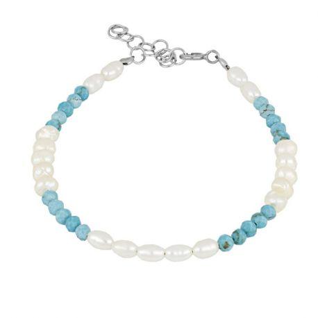 pulsera de perlas y turquesas plata