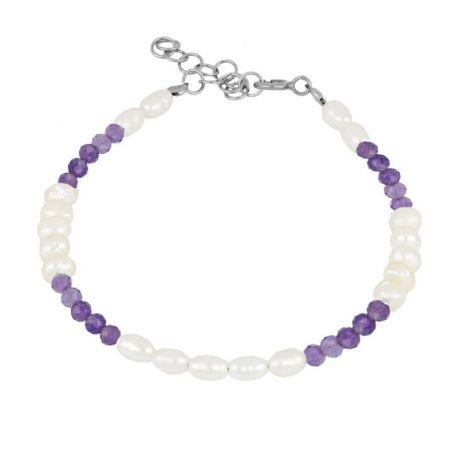 pulsera de plata perlas y amatistas