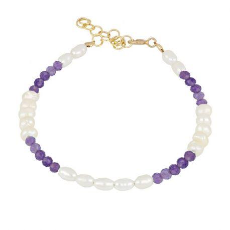 pulsera dorada de perlas y amatistas