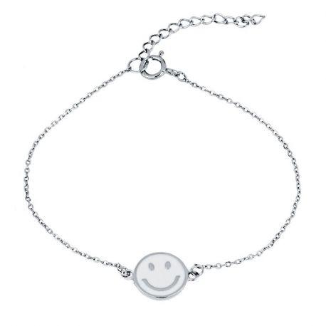 pulsera de plata esmalte cara sonriente
