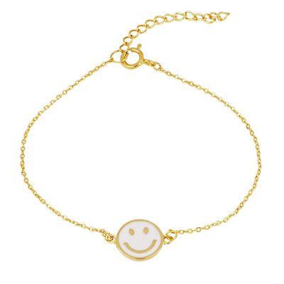 pulsera de dorada esmalte cara sonriente