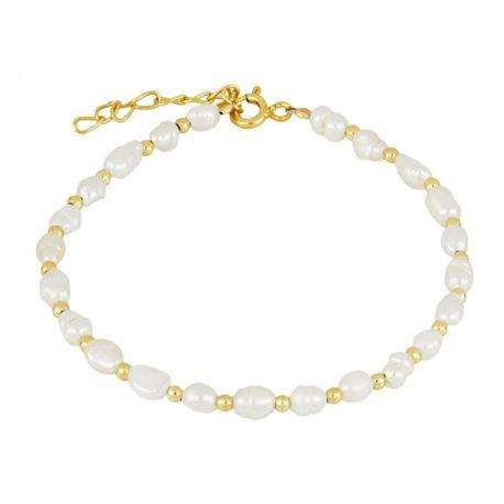 pulsera de perlas dorada