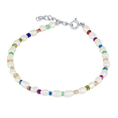 pulsera de perlitas plata