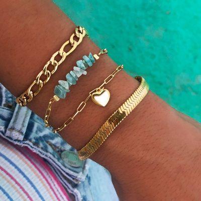 pulsera de mujer dorada amazonitas