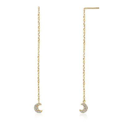pendientes dorados con cadena