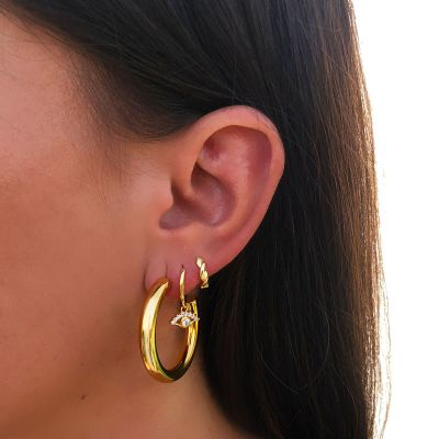 aros dorados de mujer ojo turco